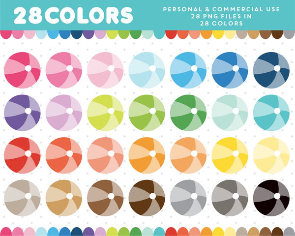 Beach ball clipart in 28 colors, CL-1385
