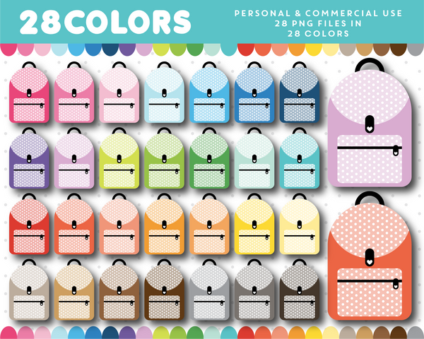 Rucksack clipart in 28 colors, CL-1386