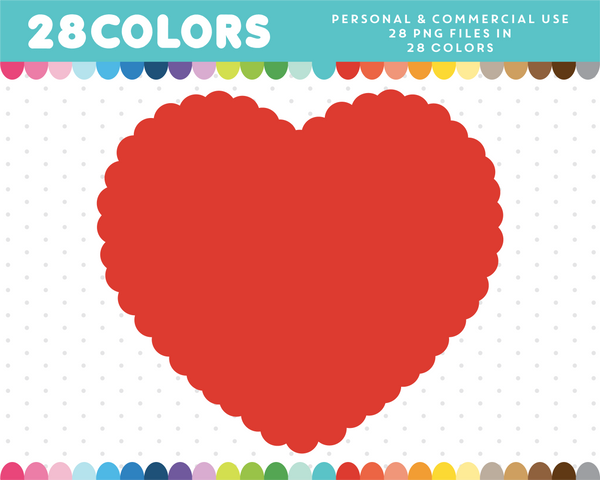 Scalloped heart clipart in 28 colors, CL-1390