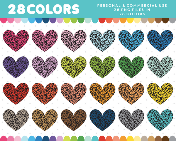 Heart with black flowers clipart in 28 colors, CL-1391