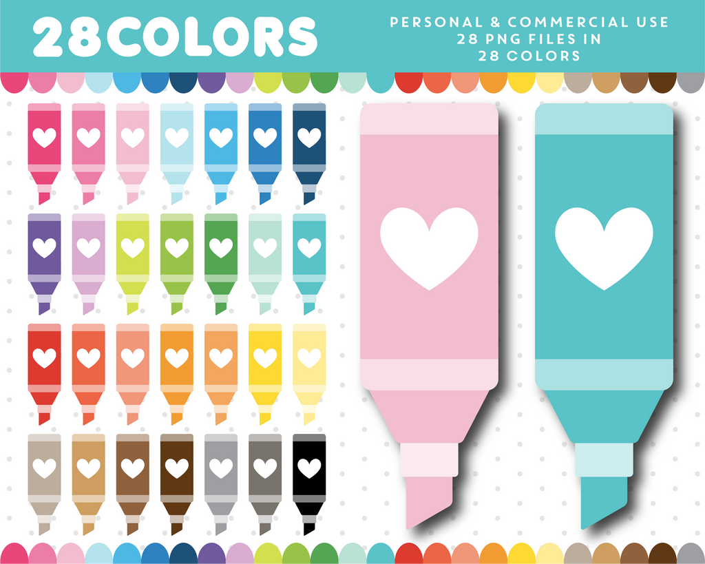 Study marker clipart in 28 colors, CL-1395