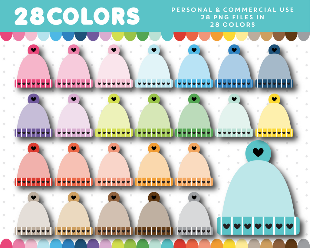 Winter hat clipart in 28 colors, CL-1401