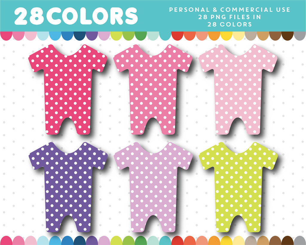 Polka dots baby outfit clipart in 28 colors, CL-1409