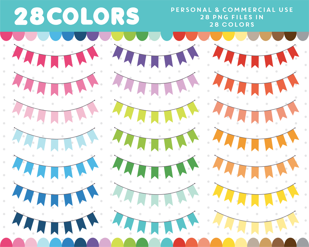 Bunting clipart in 28 colors, CL-1415