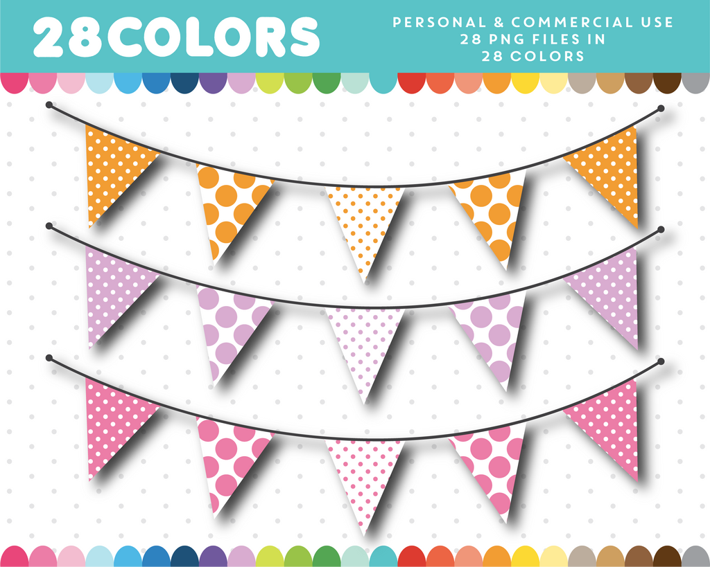 Triangle banner clipart in 28 colors, CL-1417
