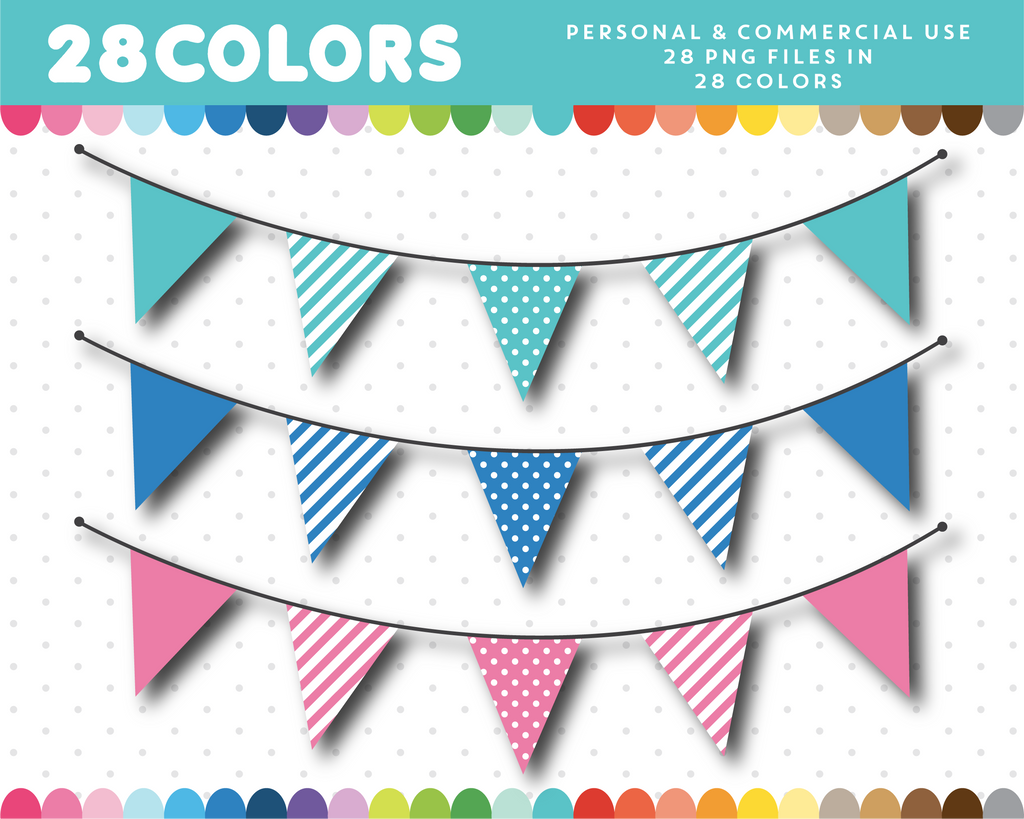 Triangle bunting clipart in 28 colors, CL-1418