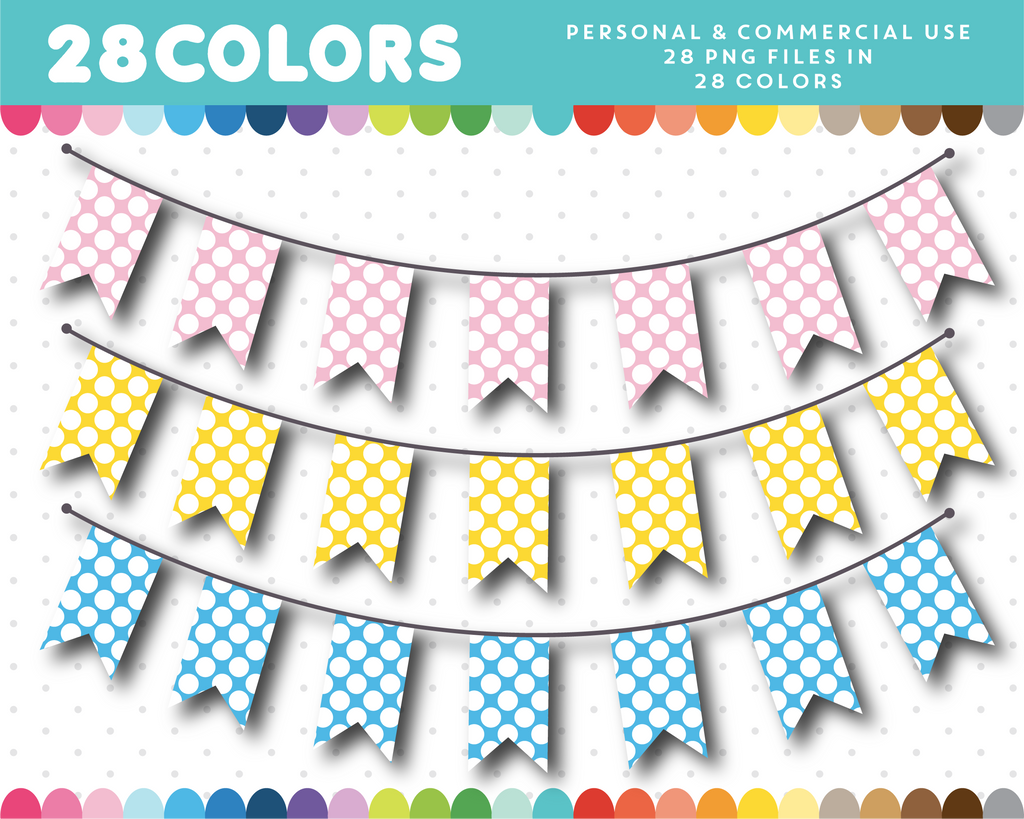 Digital bunting banner clipart in 28 colors, CL-1423
