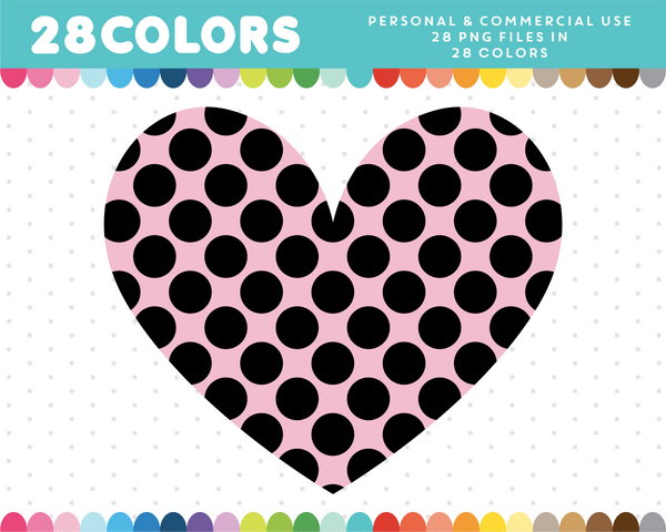 Heart with big black dots clipart in 28 colors, CL-1425
