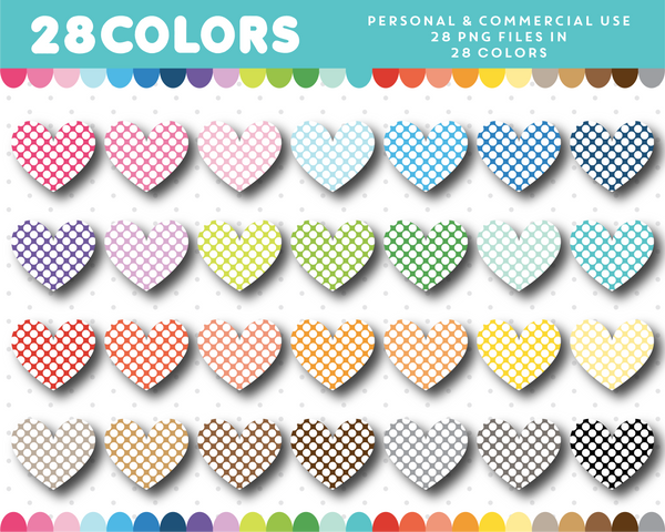 Big polka dot heart clipart in 28 colors, CL-1426