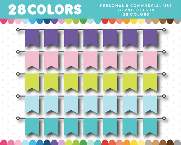Straight banner clipart in 28 colors, CL-1427
