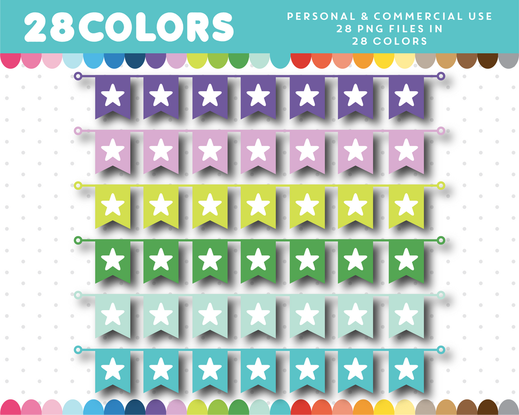Star pennant clipart in 28 colors, CL-1430