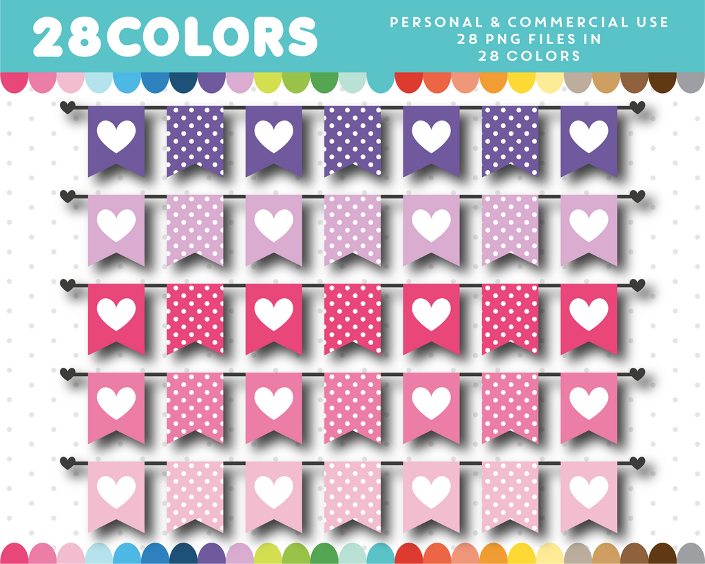 Heart and polka dots banner clipart, CL-1435