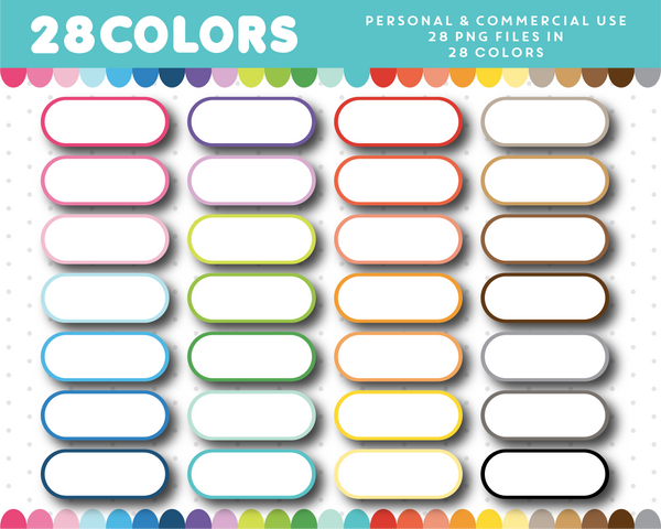Label tag clipart in 28 colors, CL-1443
