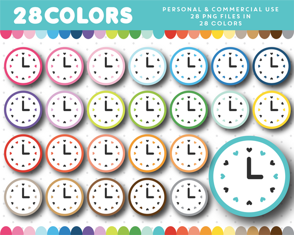 Clock with hearts clipart in 28 colors, CL-1447