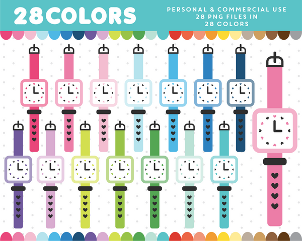 Square wristwatch clipart in 28 colors, CL-1451