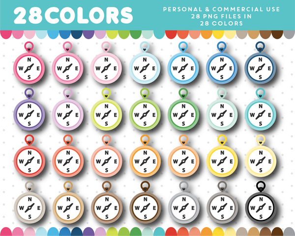 Sailor compass clipart in 28 colors, CL-1454