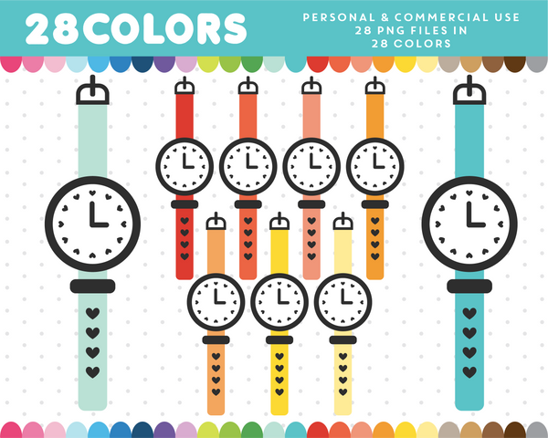 Sports watch clipart in 28 colors, CL-1457