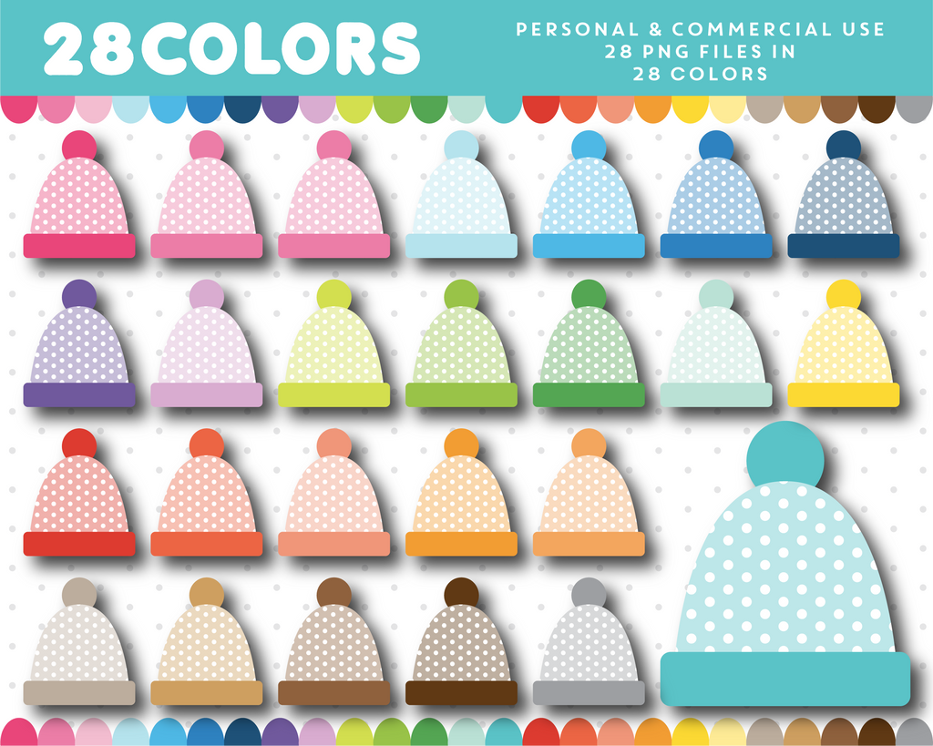 Polka dot hat clipart in 28 colors, CL-1461