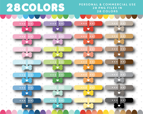 Dog collar clipart in 28 colors, CL-1466