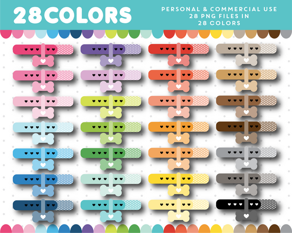 Puppy collar clipart in 28 colors, CL-1467