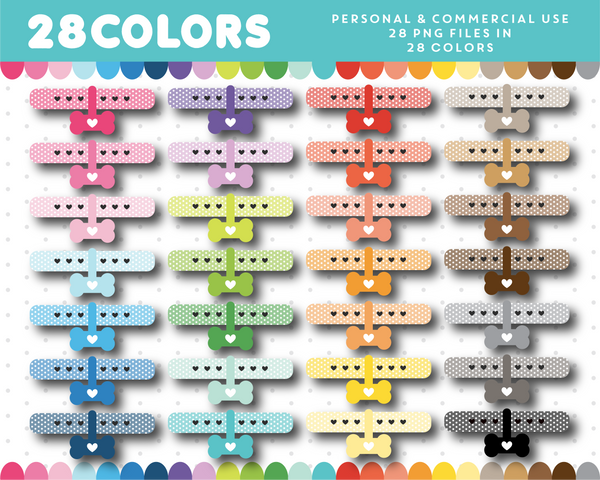 Doggie collar clipart in 28 colors, CL-1468