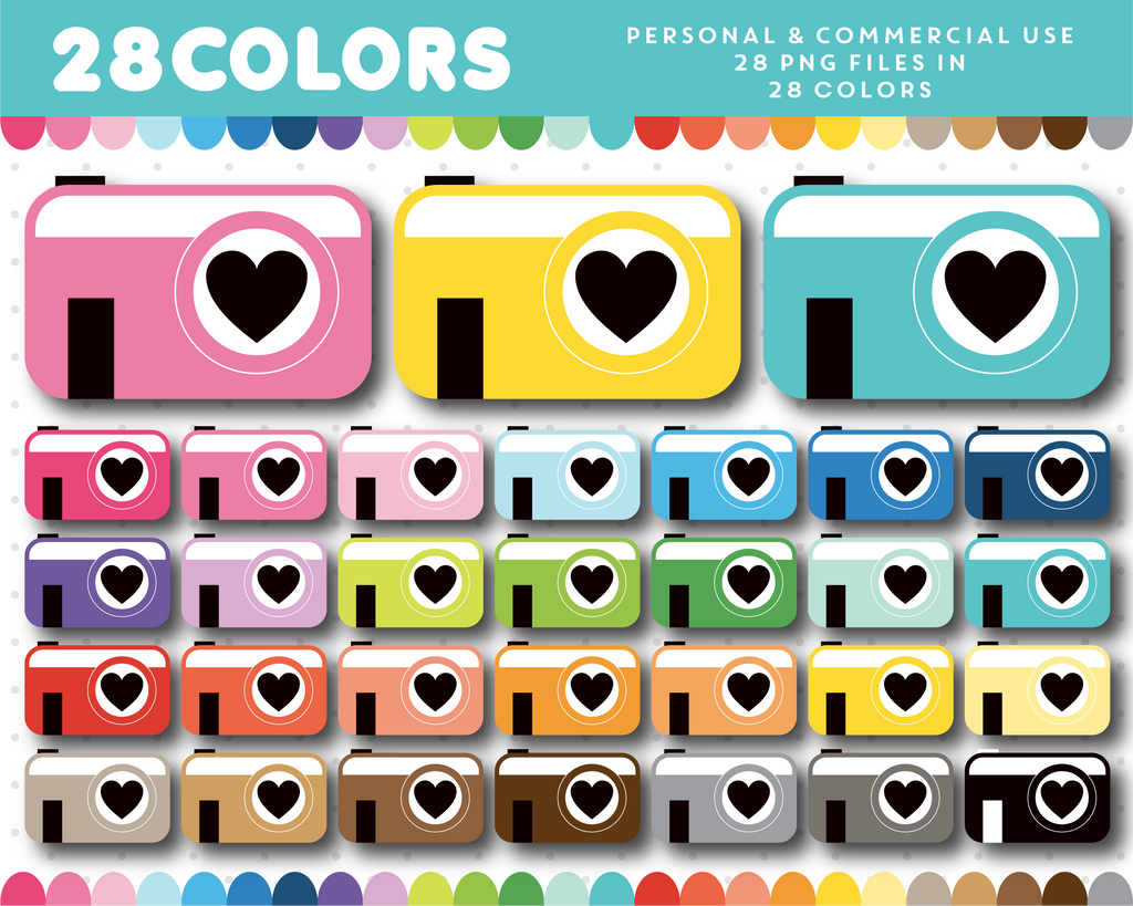 Clipart camera in 28 colors, CL-1473
