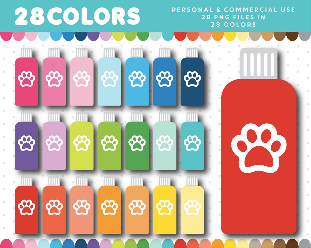 Doggie shampoo clipart in 28 colors, CL-1482
