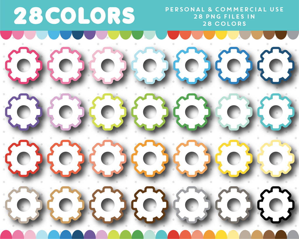 Mechanical clipart in 28 colors, CL-1488