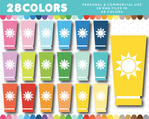 Sun cream clipart in 28 colors, CL-1489