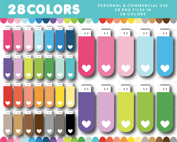 USB stick clipart in 28 colors, CL-1490