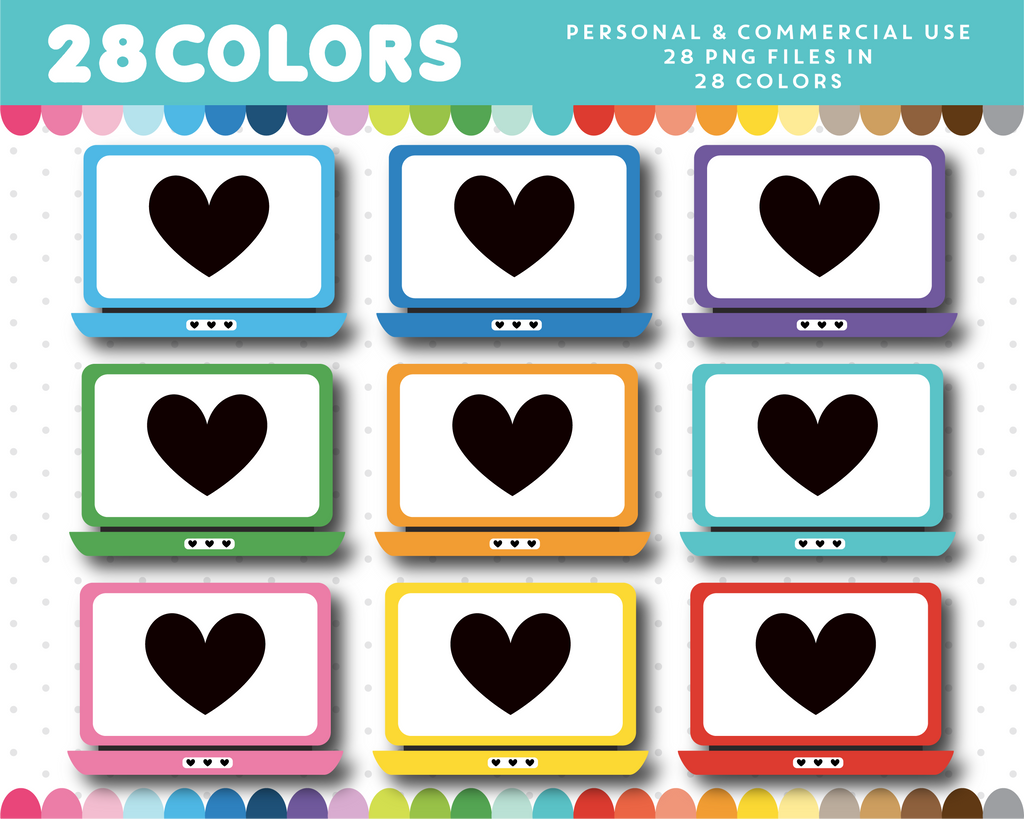 PC laptop with heart monitor clipart in 28 colors, CL-1493