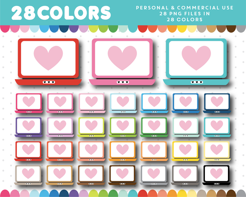 Computer laptops clipart in 28 colors, CL-1495