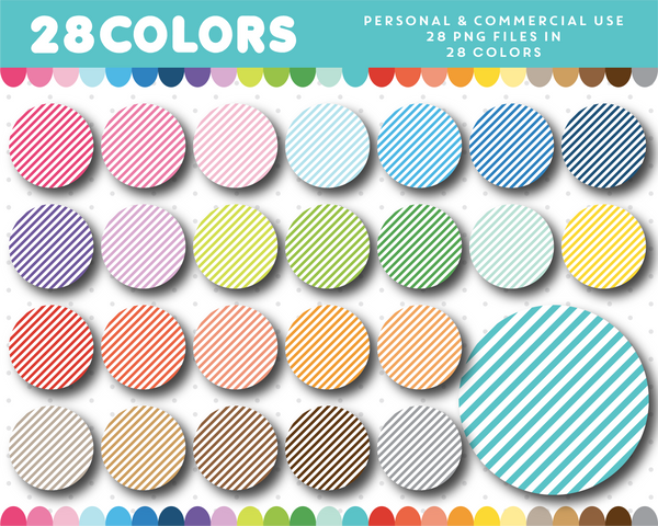 Clipart circles with stripes in 28 colors, CL-1502