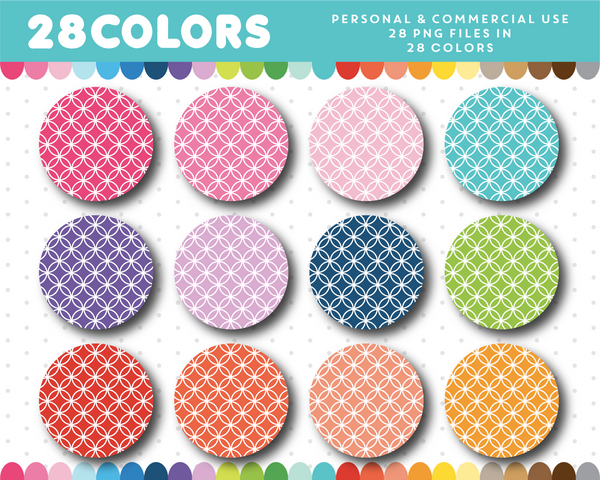 Clipart circles in 28 rainbow colors, CL-1503