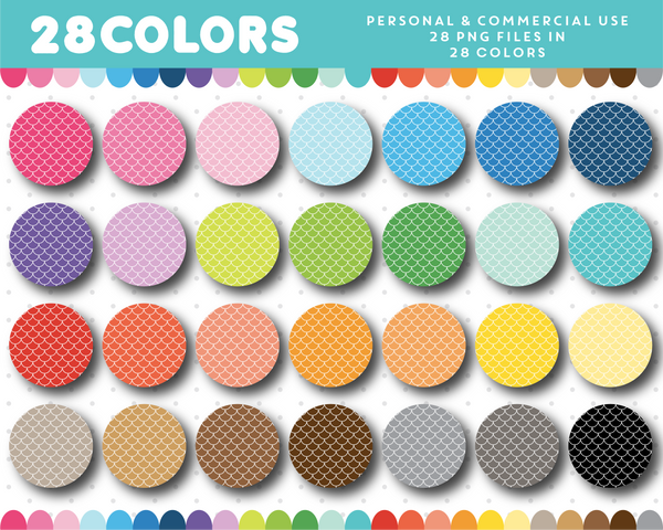 Mermaid clipart circles in 28 rainbow colors, CL-1504
