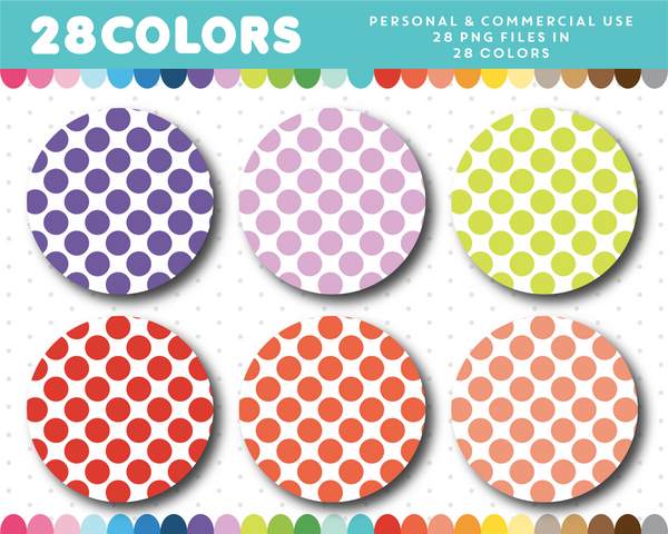 Clipart circles with big polka dots in 28 rainbow colors, CL-1505