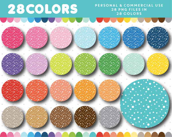 Polka dot circle cliparts in 28 rainbow colors, CL-1506