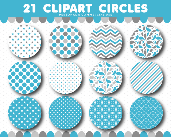Blue clipart circles with polka dots, stripes and chevron pattern, CL-1509