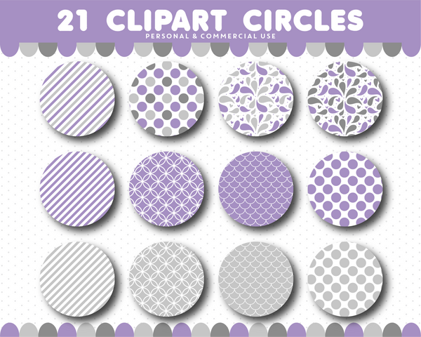 Purple clipart circles with polka dots, stripes and chevron pattern, CL-1510