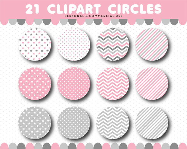 Pink clipart circles with polka dots, stripes and chevron pattern, CL-1515
