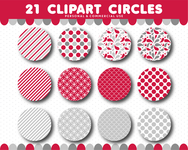 Red clipart circles with polka dots, stripes and chevron pattern, CL-1516