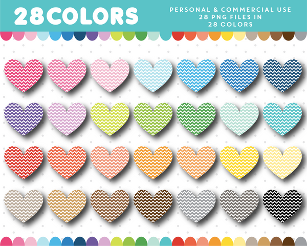 Chevron heart clipart in 28 colors, CL-1520