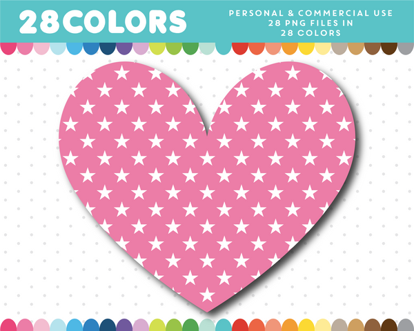 Star pattern heart clipart in 28 colors, CL-1521