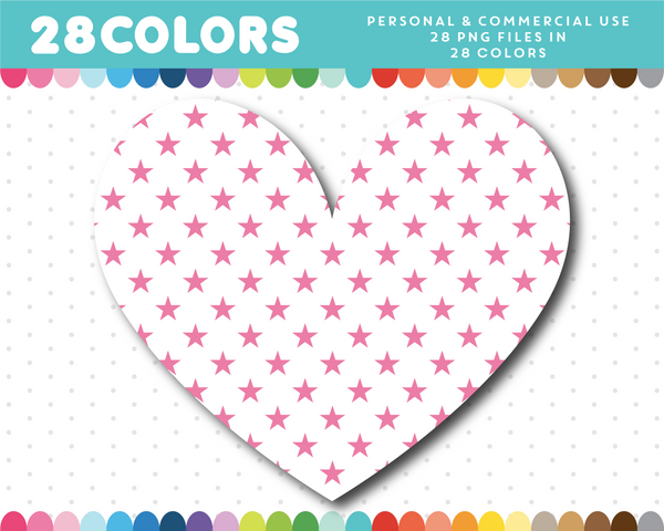 White heart clipart in 28 colors with stars, CL-1522