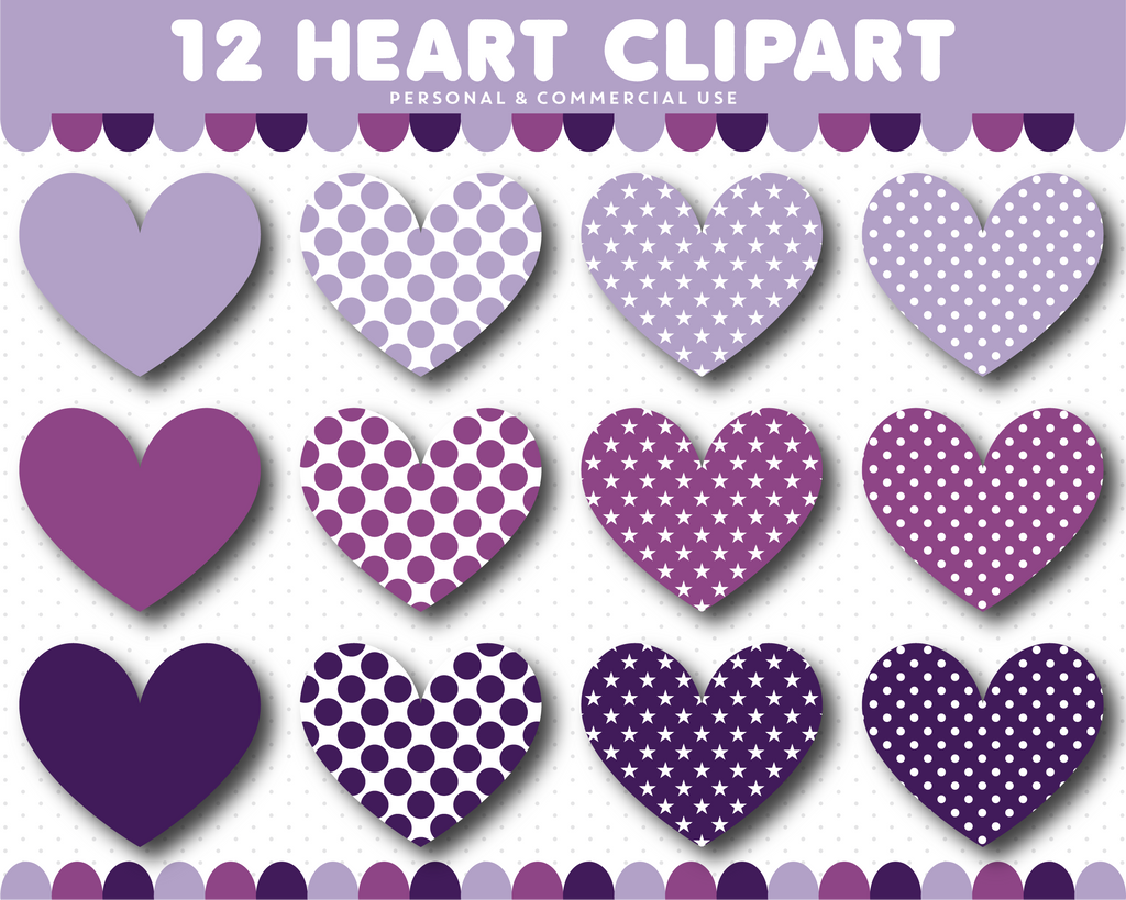 Purple heart clipart with stars and polka dots, CL-1524