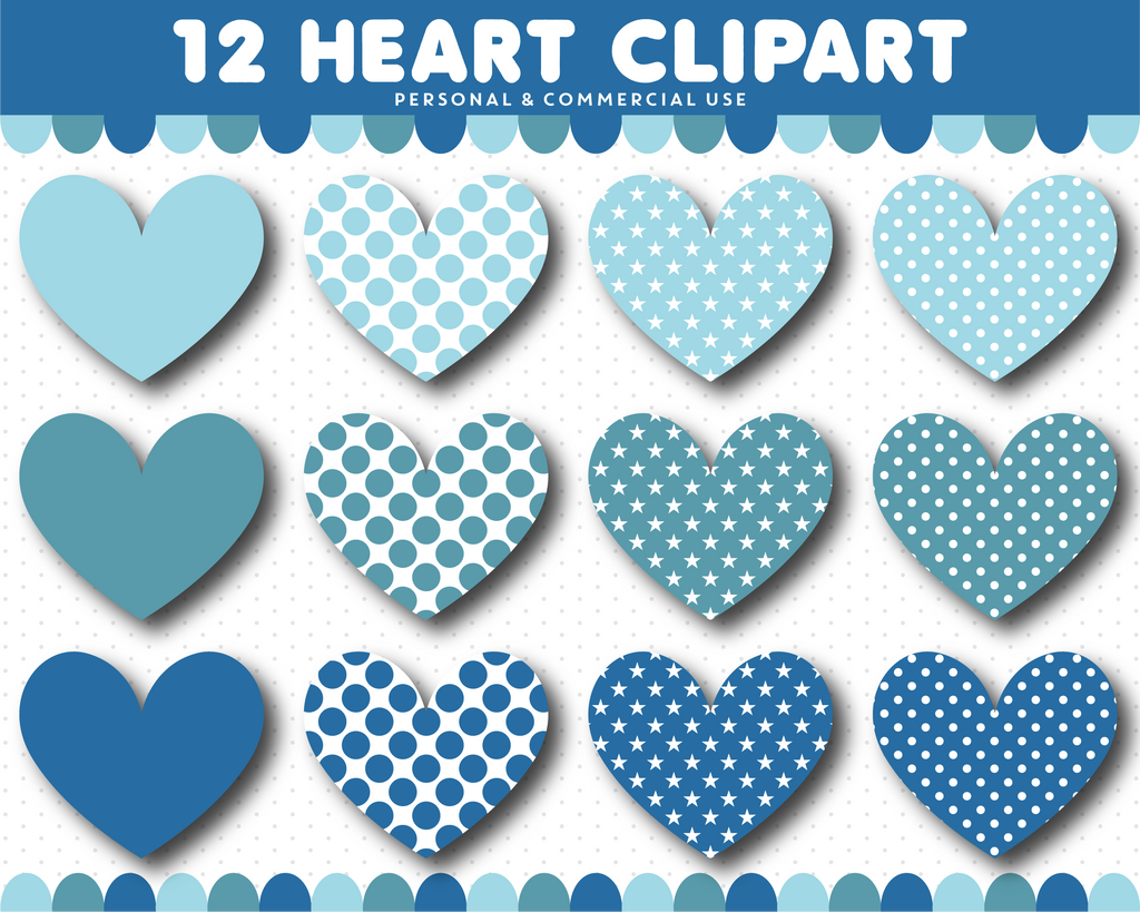 Blue heart clipart with polka dots and star pattern, CL-1526