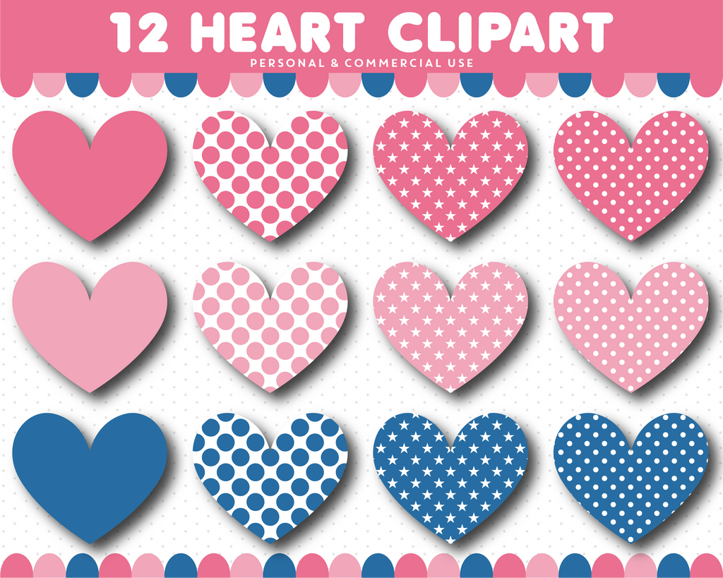 Blue and pink heart clipart, CL-1528