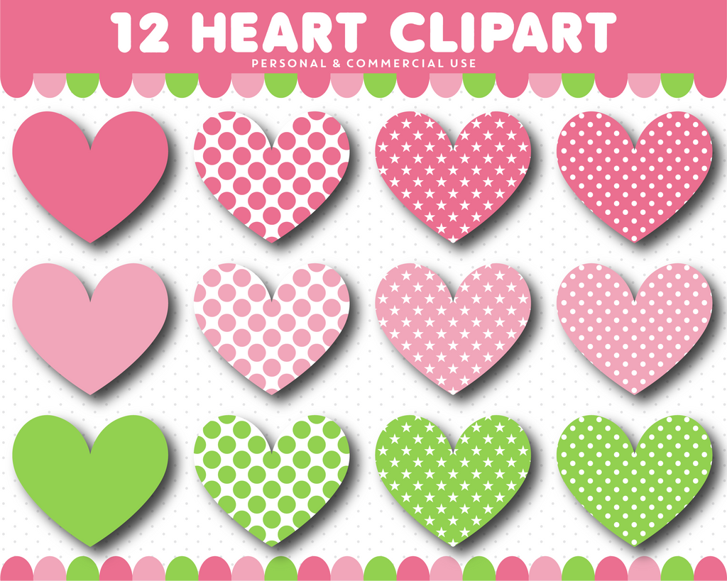 Green and pink heart clipart, CL-1529