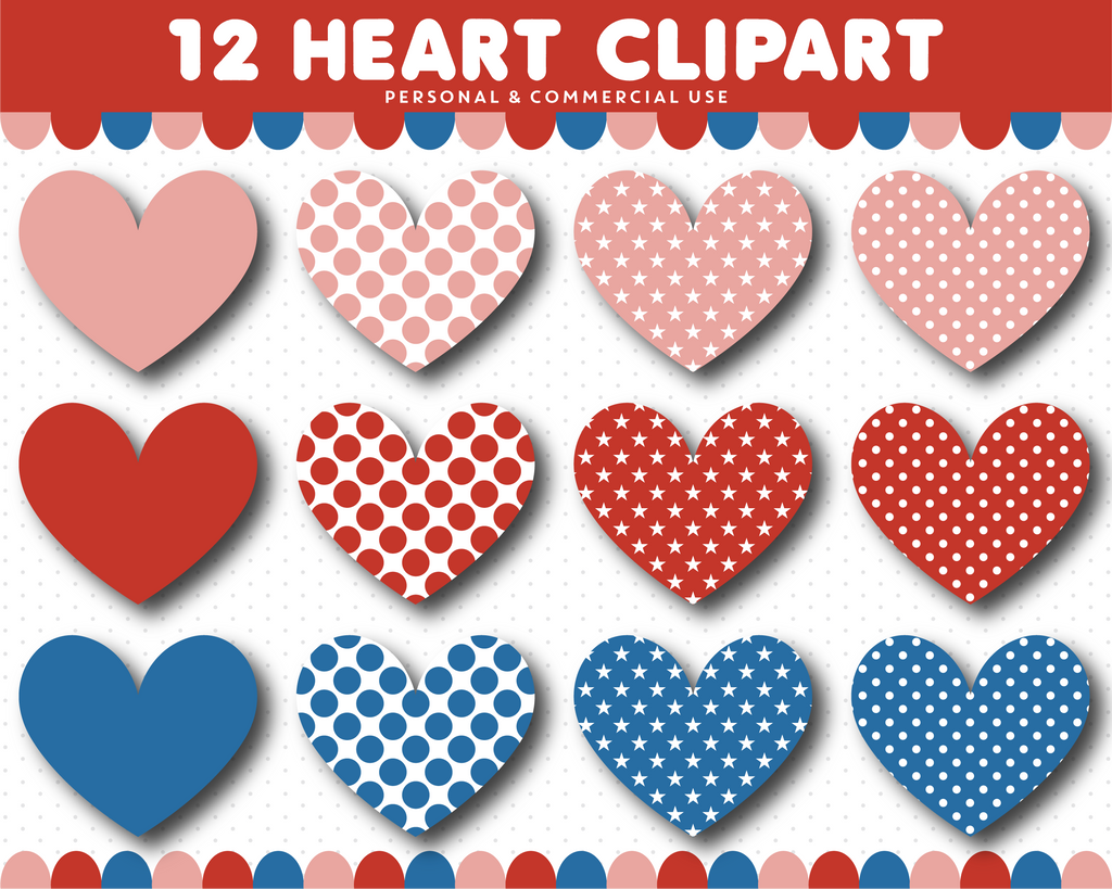 Red and blue heart clipart, CL-1530