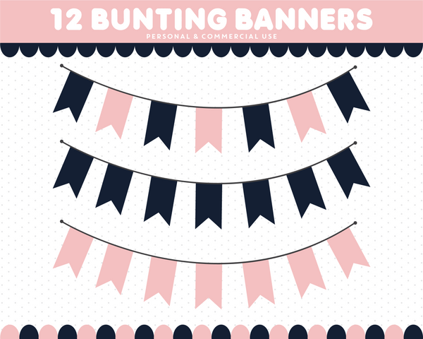 Pink and navy blue bunting flag clipart with polka dots and stripes, CL-1534